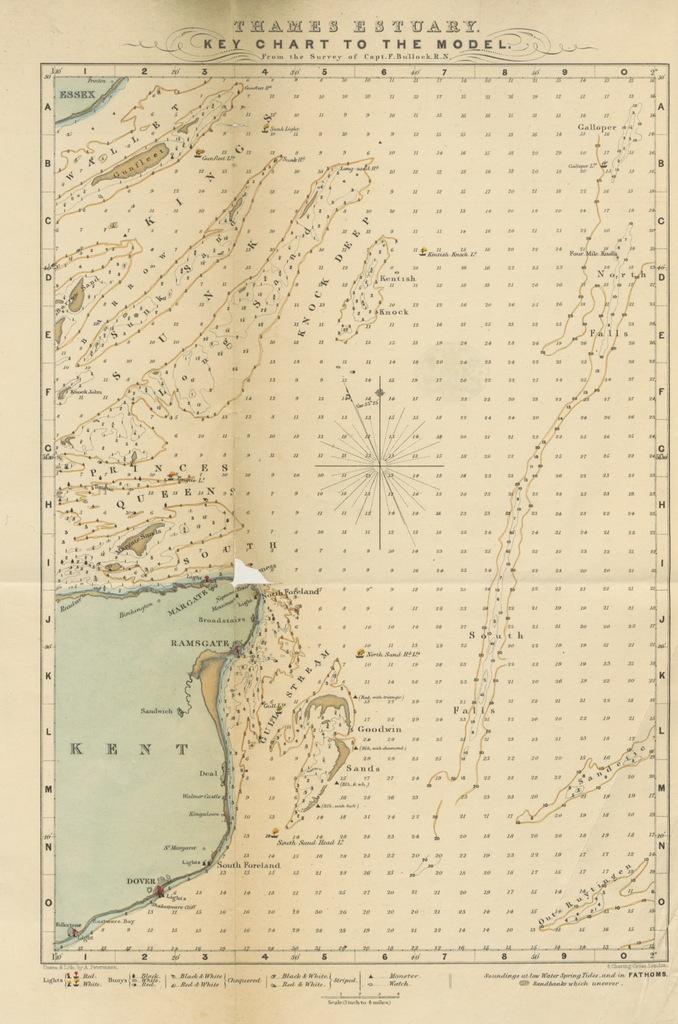 """map from """"Thames Estuary. Guide to the navigation of the Thames Mouth, and Key to the Model"""""""