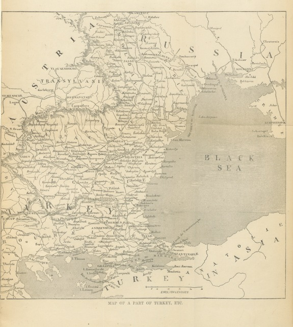 """map from """"The Cossack and the Turk: a popular Account of the present Crisis in the affairs of the Ottoman Empire; with the facts and documents relating thereto, from official sources"""""""