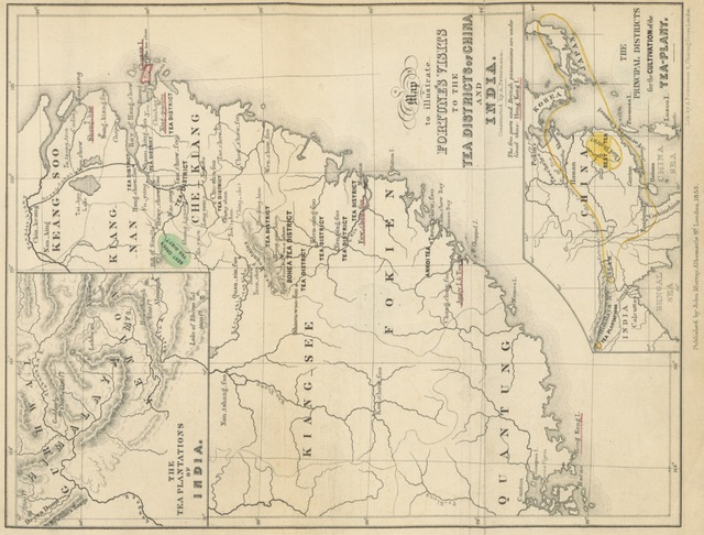 """map from """"Two visits to the Tea countries of China and the British Tea Plantations in the Himalaya; with a ... full description of the culture of the Tea plant, the agriculture, horticulture, and botany of China. Third edition, etc"""""""