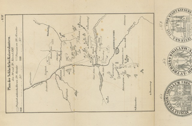 """map from """"Urkundliche Geschichte der Bezirks-Hauptstadt Kaiserslautern und des ehemaligen Reichslandes"""""""