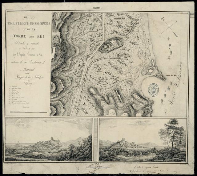 Plano del Fuerte de Oropesa y de la Torre del Rei sitiados y tomados en octubre de 1811 por el Ejercito Frances a las ordenes de su Escelencia el Mariscal Suchet Duque de la Albufera
