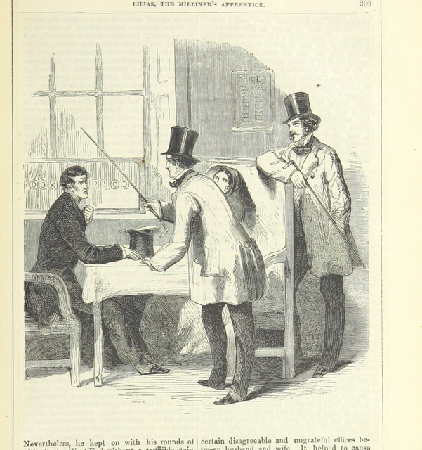 """confrontation from """"Lilias, the Milliner's Apprentice ... With ... wood-engravings drawn by W. H. Thwaits"""""""