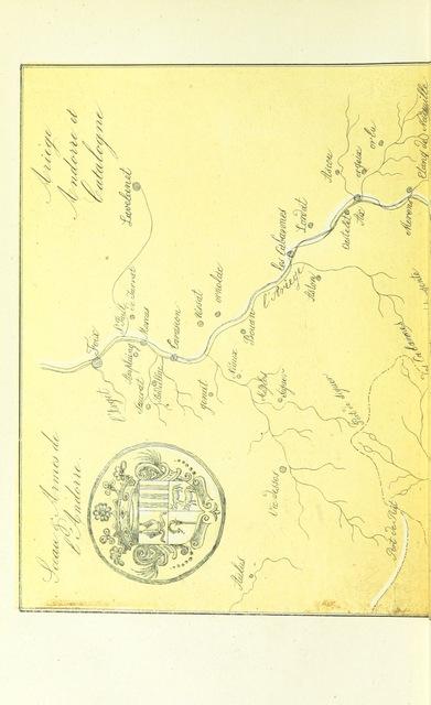 """map from """"Ariège, Andorre et Catalogne. Guide historique, pittoresque et descriptif aux bains d'Ussat et d'Ax ... avec 20 dessins etc"""""""