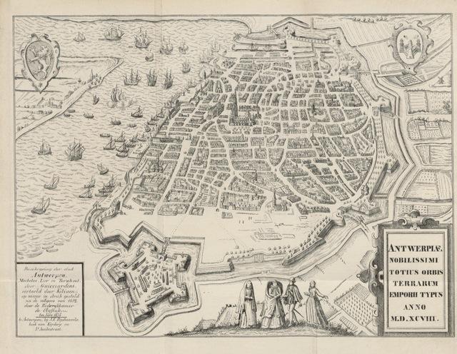 """map from """"Beschryving van Antwerpen Mechelen, Lier en Turnhout, ... In het Nederduitsch vertaeld door Kiliaen; herdrukt volgens de uitgave van 1612 in naem der Rederykkamer De Olyftak"""""""