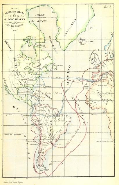 """map from """"[Esplorazione delle regioni equatoriali lungo il Napo ed il Fiume delle Amazzoni, frammento di un viaggio fatto nelle due Americhe negli anni 1846-1847-1848 da G. Osculati ... Corredata di 2 carte topografiche e di 20 vedute e costumi ritratti dal vero dallo stesso autore.]"""""""