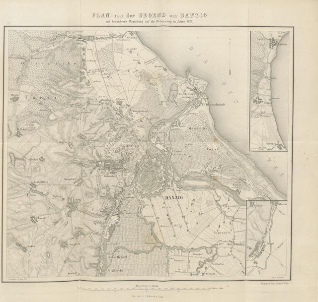 """map from """"Geschichte der Befestigungen und Belagerungen Danzigs. Mit besonderer Rücksicht auf die Ostpreussische Landwehr, welche in den Jahren 1813-1814 vor Danzig stand ... Nebst einem Plane von Danzig und dessen Umgegend"""""""
