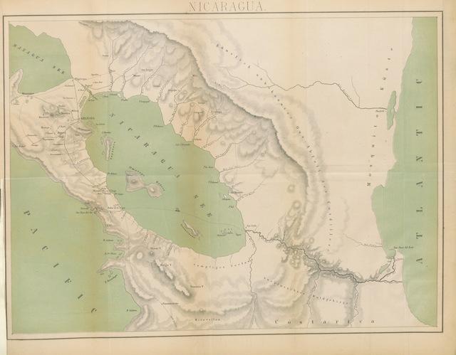 """map from """"Nicaragua. Nach eigener Anschauung im Jahre 1852 und mit besonderer Beziehung auf die Auswanderung nach den heissen Zonen Amerika's beschrieben, etc"""""""