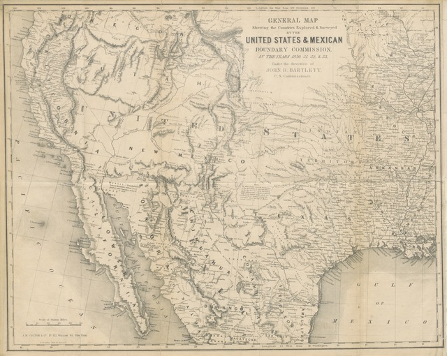 """map from """"Personal Narrative of Explorations and Incidents in Texas, New Mexico, California, Sonora, and Chihuahua, connected with the United States and Mexican Boundary Commission, during the years 1850, '51, '52 and '53. [With plates.]"""""""