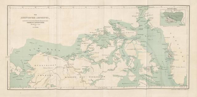 """map from """"Sir J. Franklin, die Unternehmungen für seine Rettung und die nordwestliche Durchfahrt. Nebst einer Tabelle der arktischen Temperaturen von Prof. Dr. H. W. Dove und einer Karte von Henry Lange"""""""