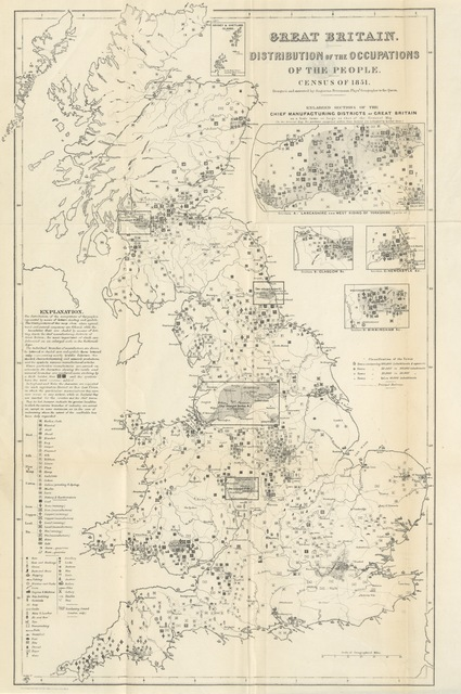 "map from ""The Census of Great Britain in 1851; comprising an account of the numbers and distribution of the people, their ages, conjugal condition, occupations, and birth place: with returns of the blind, the deaf and dumb, and the inmates of public institutions"""