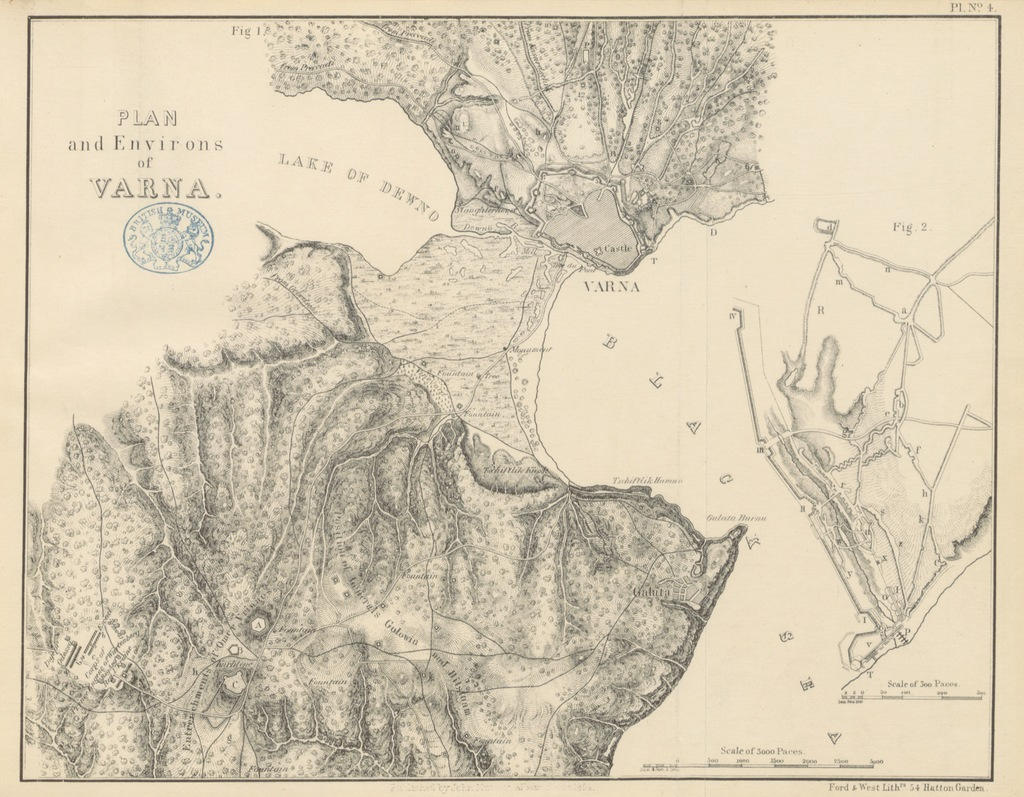 """map from """"The Russians in Bulgaria and Rumelia in 1828 and 1829 ... From the German. [by Lady Duff Gordon.]"""""""