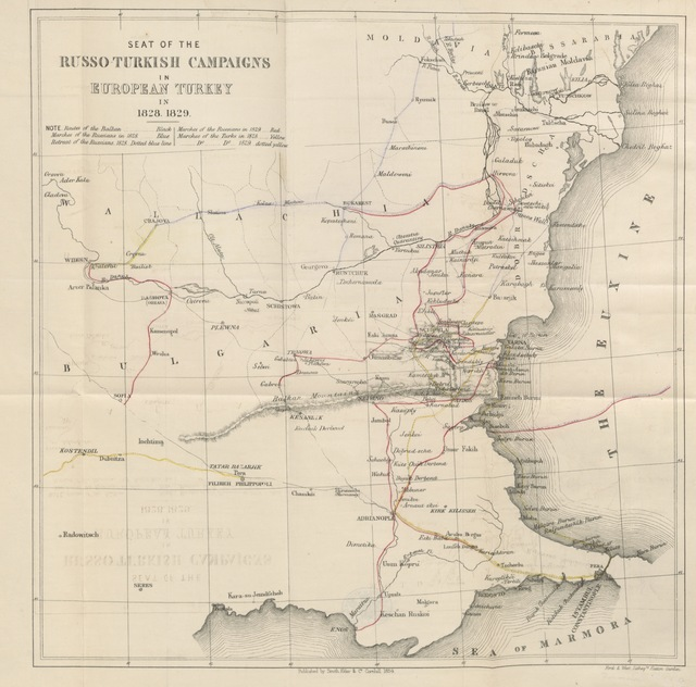 """map from """"The Russo-Turkish Campaigns of 1828 and 1829: with a view of the present state of affairs in the East ... With maps"""""""