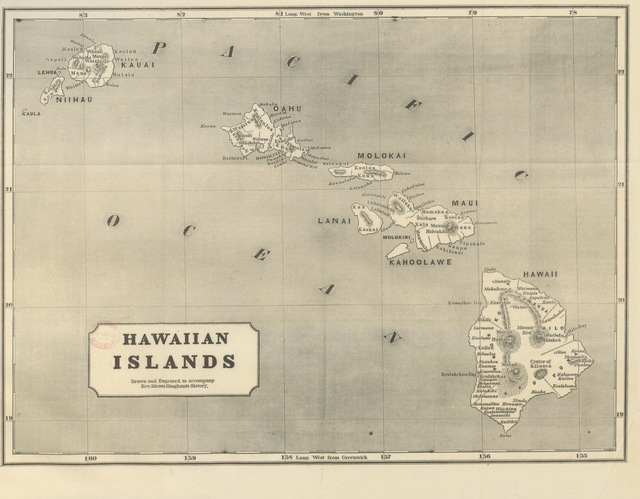 """map from """"[A Residence of Twenty-one Years in the Sandwich Islands; or the Civil, religious, and political history of those islands ... Third edition, revised and corrected, etc. [With a portrait and a map.]]"""""""