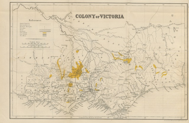 """map from """"The Gold Era of Victoria; being the present and the future of the colony in its commercial, statistical and social aspects. [With a map.]"""""""