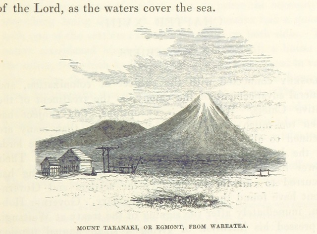 "Mt Taranaki from ""Te Ika a Maui, or, New Zealand and its inhabitants, etc"""