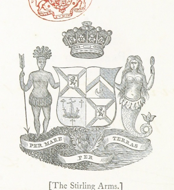"coat of arms from ""Papers relating to the Island of Nantucket, with documents relating to the original settlement of that island, Martha's Vineyard, and other islands adjacent, known as Dukes County, while under the Colony of New York. Compiled from official records, etc. F.P"""