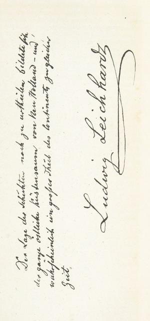 """manuscript from """"Dr. L. Leichhardt. Eine biographische Skizze. Nebst einem Berichte über dessen zweite Reise im Innern des Austral-Continents nach dem Tagebuche seines Begleiters, des Botanikers D. Bunce. Mit Leichhardts Portrait in Stahlstich"""""""