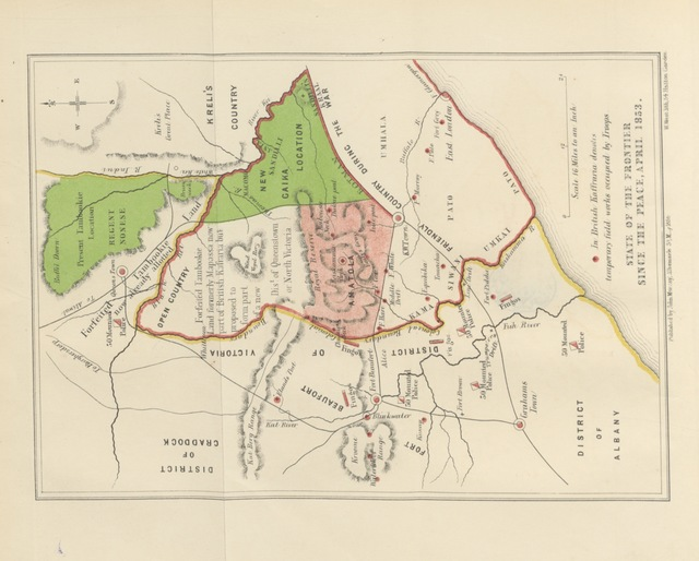 """map from """"Correspondence of Lieut.-General the Hon. Sir George Cathcart, K.C.B., relative to his military operations in Kaffraria ... and to his measures for the future maintenance of peace on that frontier, etc. [With maps.]"""""""