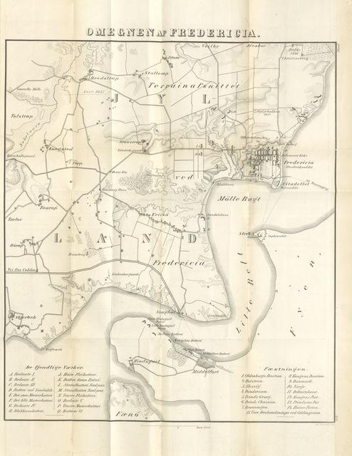 """map from """"Fredericias Armering, Indeslutning, Bombardement samt Forsvar, under Kong Frederik den 7de, fra den 26de Marts til den 6te Juli 1849 ... Tilligemed en Oversigt over Fredericias Anlæg, fra den første Begyndelse af, dens Beleiring i 1657, og dens Kastels Indtagelse af de Allierede i Aaret 1659. [With a map.]"""""""