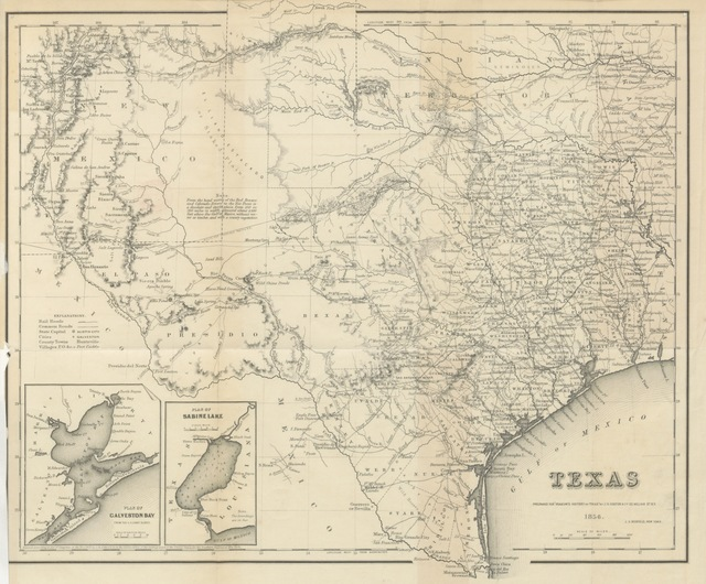 "map from ""History of Texas from its first settlement in 1685 to its annexation to the United States in 1846 ... With an extended appendix [containing Memoir of Ellis P. Bean, etc.]"""