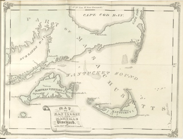 "map from ""Papers relating to the Island of Nantucket, with documents relating to the original settlement of that island, Martha's Vineyard, and other islands adjacent, known as Dukes County, while under the Colony of New York. Compiled from official records, etc. F.P"""