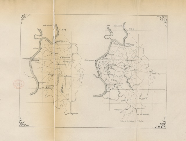 """map from """"Report of the Geological Survey in Kentucky, made during the years 1854 and 1855, by David Dale Owen ... assisted by Robert Peter ... Sidney S. Lyon. [With maps.]"""""""