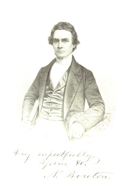 "portrait from ""The History of Concord, from its first grant in 1725, to the organization of the city government in 1853, with a history of the ancient Penacooks. The whole interspersed with numerous interesting incidents and anecdotes, down to ... 1855; embellished with maps; with portraits of distinguished citizens, etc"""
