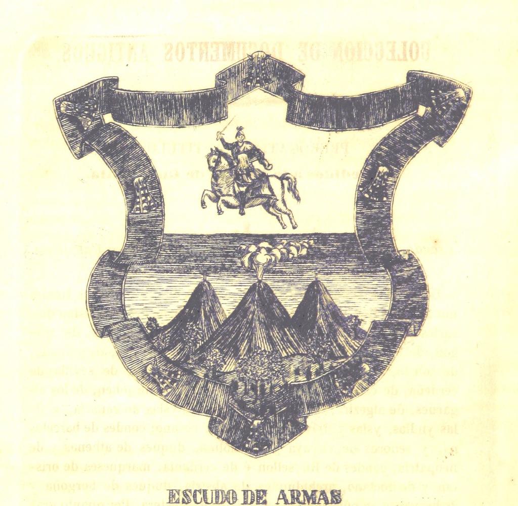 """coat of arms from """"Coleccion de documentos antigüos del Archivo del ayuntamiento de la ciudad de Guatemala, formada por ... D. Rafael Arévalo, etc"""""""