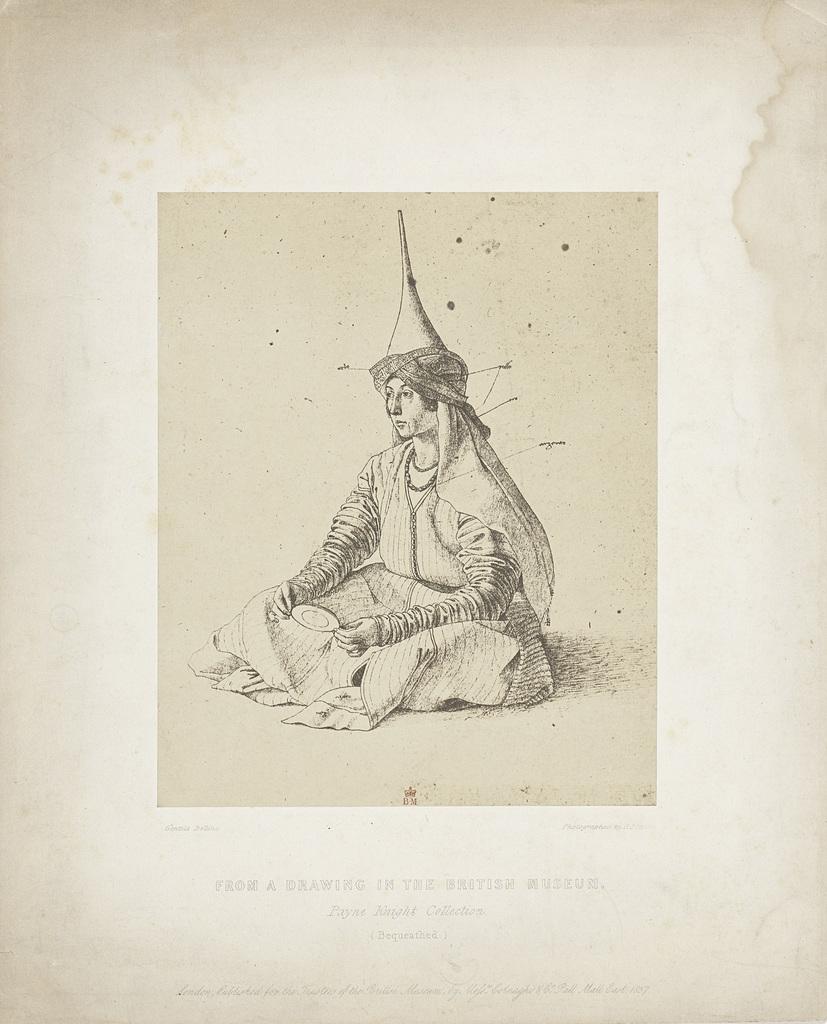 Fotoreproductie van een tekening van Gentile Bellini: Turkse vrouw (collectie British Museum)