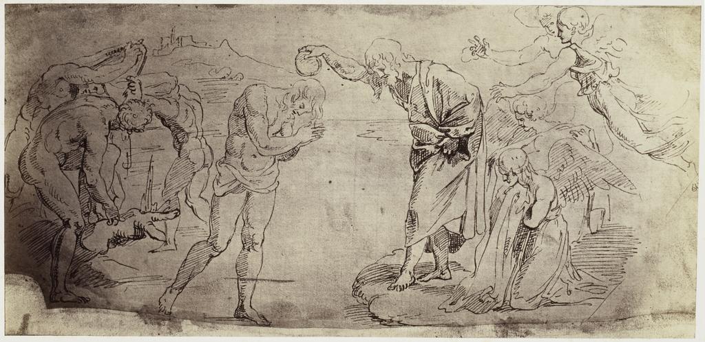 Fotoreproductie van tekening Raphael uit Windsor Castle, doop in de Jordaan