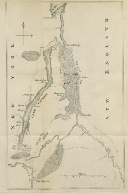 "map from ""Commissary Wilson's orderly book. Expedition of the British and provincial army under Maj. Gen. J. Amherst against Ticonderoga and Crown Point, 1759"""