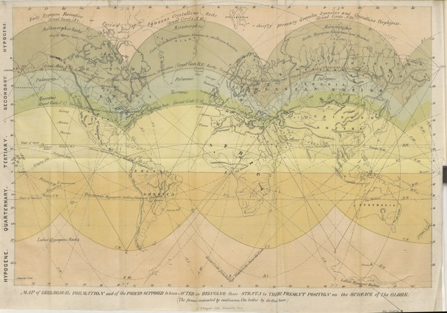 """map from """"Key to the Geology of the Globe. An essay, designed to show that the present geographical, hydrographical, and geological structures observed on the Earth's crust, were the result of forces acting according to fixed, demonstrable laws, analogous to those governing the development of organic bodies ... Illustrated by maps and diagrams"""""""
