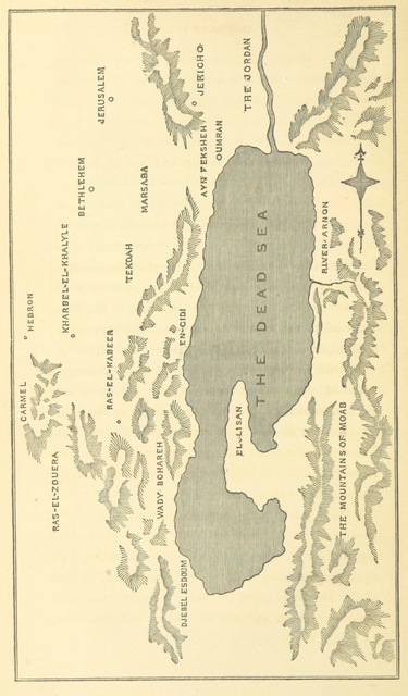 """map from """"The Dead Sea: or, notes and observations made during a Journey to Palestine in 1856-7, on M. De Sauley's supposed discovery of the Cities of the Plain [published in his """"Voyage autour de la Mer Morte, etc.""""] ... Illustrated with photographs"""""""