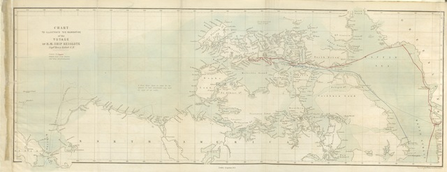 """map from """"The eventful voyage of H.M. Discovery Ship """"Resolute"""" to the Arctic Regions in search of Sir J. Franklin. ... To which is added an account of her being fallen in with by an American Whaler after her abandonment ... and of her presentation to Queen Victoria by the Government of the United States"""""""