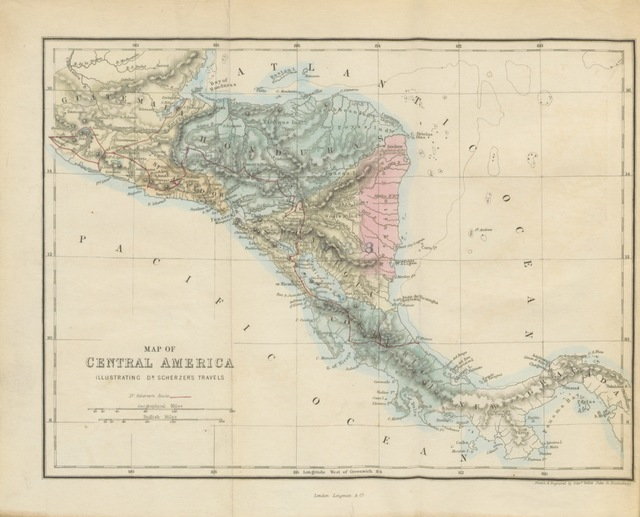 "map from ""Travels in the Free States of Central America: Nicaragua, Honduras, and San Salvador"""