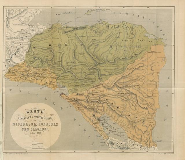 """map from """"Wanderungen durch die mittel-amerikanischen Freistaaten Nicaragua, Honduras und San Salvador. Mit Hinblick auf deutsche Emigration und deutschen Handel, von Dr E. Scherzer [and M. Wagner]"""""""