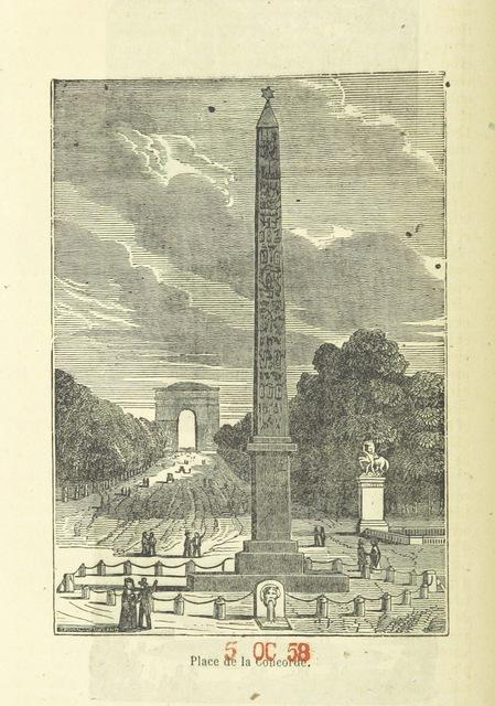 """obelisk from """"[Paris historique et monumental depuis son origine jusqu'en 1851 ... illustré d'un grand nombre de vignettes et de deux plans. Par B. R[enault?].]"""""""
