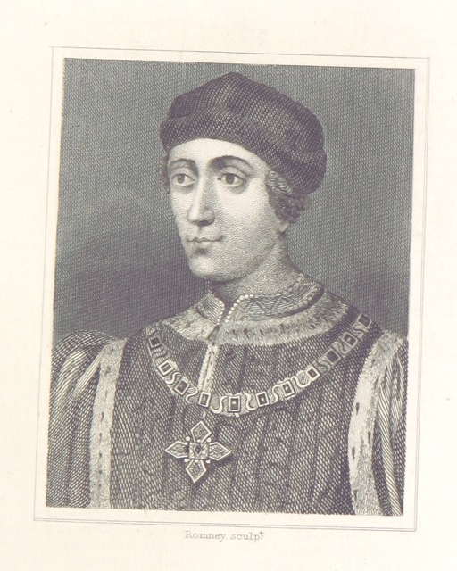 """portrait from """"[A History of England: combining the various histories by Rapin, Henry, Hume, Smollett and Belsham: corrected by reference to Turner, Lingard, Mackintosh ... and other sources. Compiled and arranged by F. G. Tomlins. Stereotype edition.]"""""""