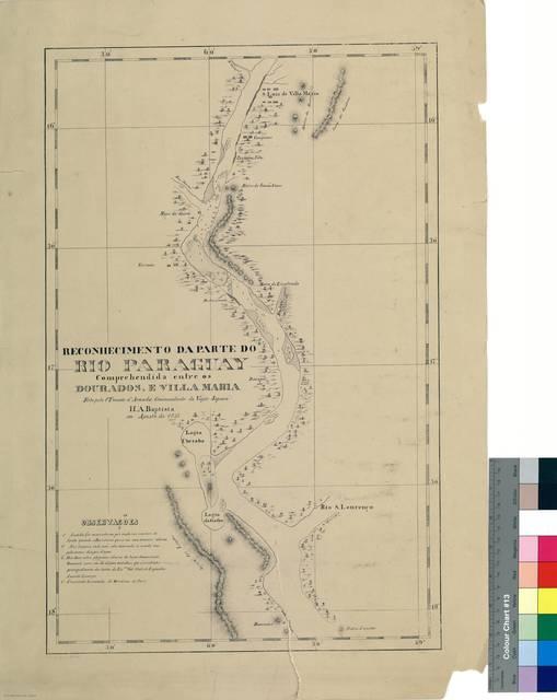 Reconhecimento da parte do Río Paraguay : Comprehendida entre os Dourados, e villa Maria