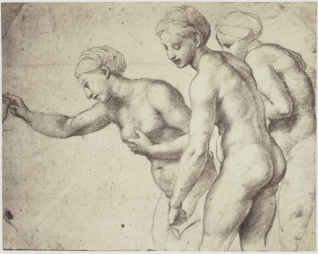 Reproductie van een tekening van Rafaël in de collectie van Windsor Castle: studie voor `De drie Gratiën' in de Psyche Loggia, Villa Farnesina te Rome