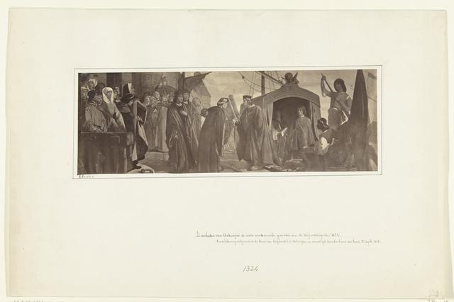 De Magistraat van Antwerpen ontvangt de eerste Venetiaanse gezanten Dardo Bembo en Giovanni Georgi aan de werf, 1324