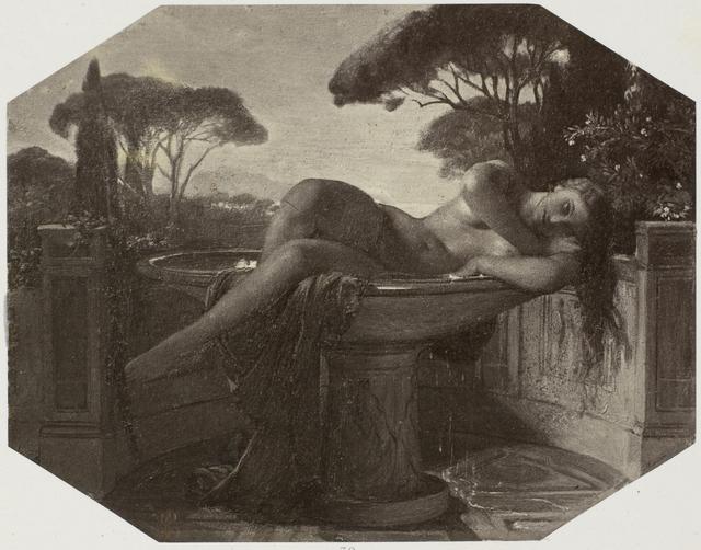 Fotoreproductie van tekening door Paul Delaroche: jeune fille dans une vasque