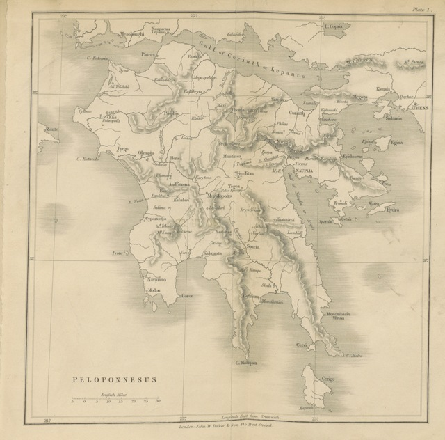 """map from """"Peloponnesus: notes of study and travel"""""""