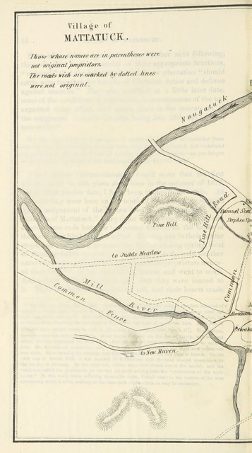 "map from ""The History of Waterbury, Connecticut ... With an appendix of biography, genealogy, and statistics. [With plates.]"""