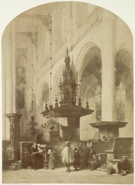 Fotoreproductie van een tekening van Johannes Bosboom, 'De Nieuwe Kerk te Amsterdam'