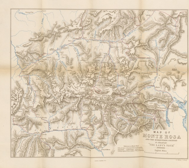 "map from ""A Lady's Tour round Monte Rosa, with visits to the Italian valleys of Anzasca, Mastalone, ... and Cogne. In a series of excursions in the years 1850-56-58. [By Mrs. Henry Warwick Cole]"""
