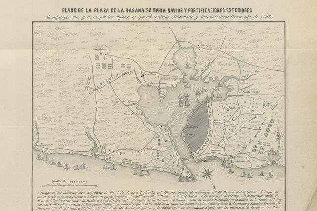"""map from """"Sitio y Rendicion de la Habana en 1762. Fragmento de la historia inedita de la Isla de Cuba"""""""
