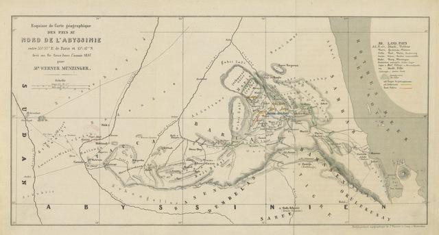 """map from """"Ueber die Sitten und das Recht der Bogos ... Mit einer Karte ... und einem Vorwort von J. M. Ziegler"""""""