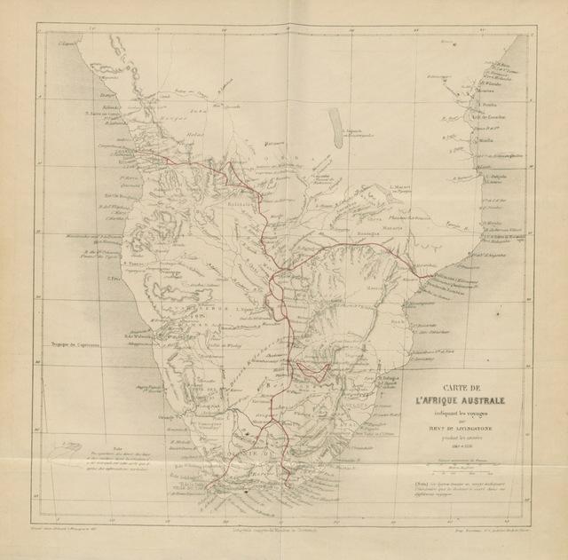 """Southern Africa from """"Exploration dans l'intérieuŕ de l'Afrique Australe. Ouvrage traduit de l'Anglais par Mme. H. Loreau"""""""