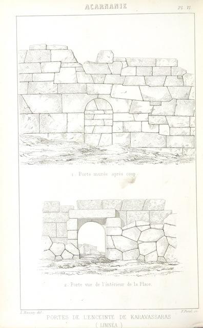 """Architecture from """"Le Mont Olympe et l'Acarnanie, exploration de ces deux régions, avec l'étude de leurs antiquités, de leurs populations anciennes et modernes, de leur géographie et de leur histoire, ouvrage accompagné de planches, etc"""""""